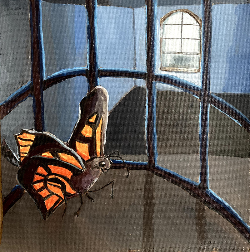 Acrylic Painting - Butterfly in a cage
