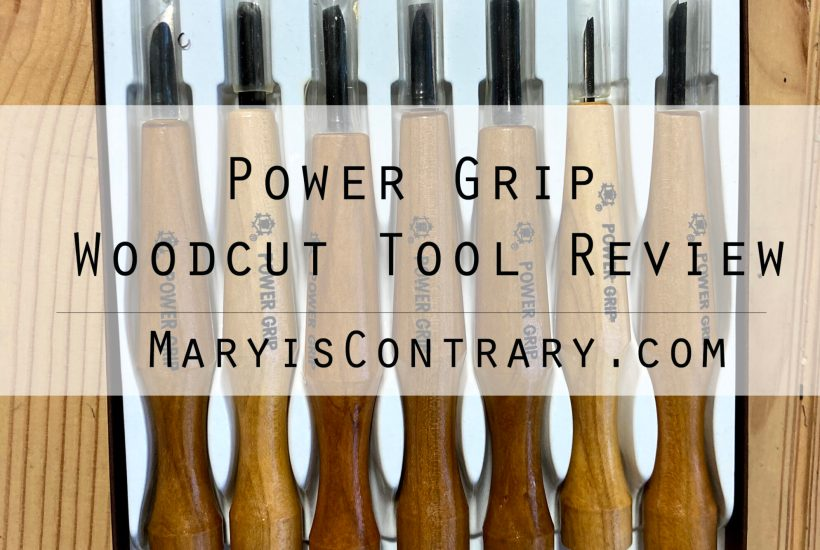 Power Grip Woodcut Tool Review image with carving tools behind the title.
