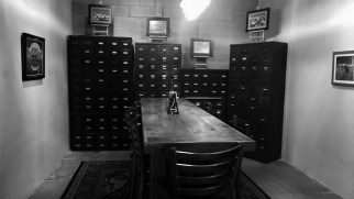 The safe deposit boxes are old, but the table is new.