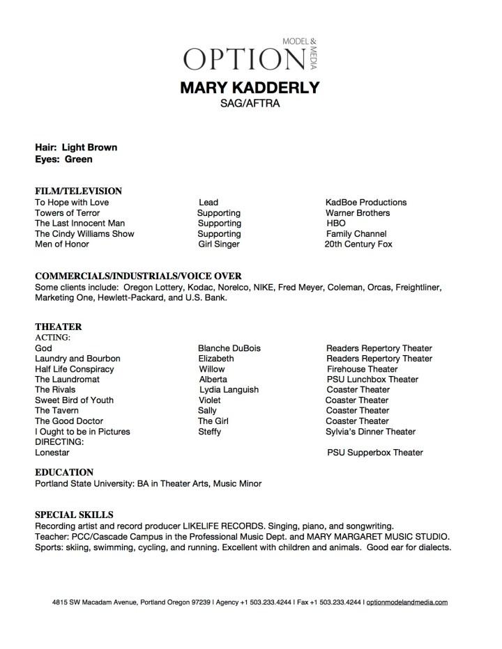 Microsoft Word - Mary Kadderly Resume