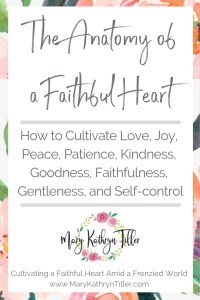 Great post on what characteristics make up a Christ-like heart. Learn what it means to cultivate a faithful heart. Found at MaryKathrynTiller.com. #fruitsofthespirit #faithful #heart #biblestudy #wordstudy #faithful #christianblogger
