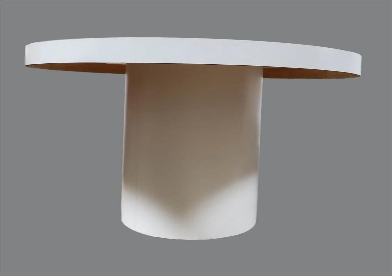 Mid Century Modern White Round Dining Table Tube Base