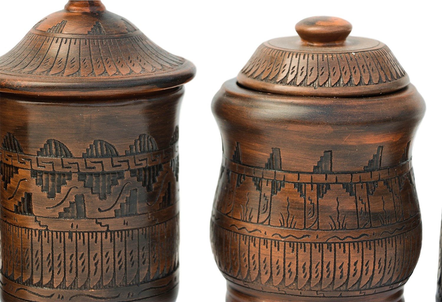 Native American Navajo Style Pottery Canister Set