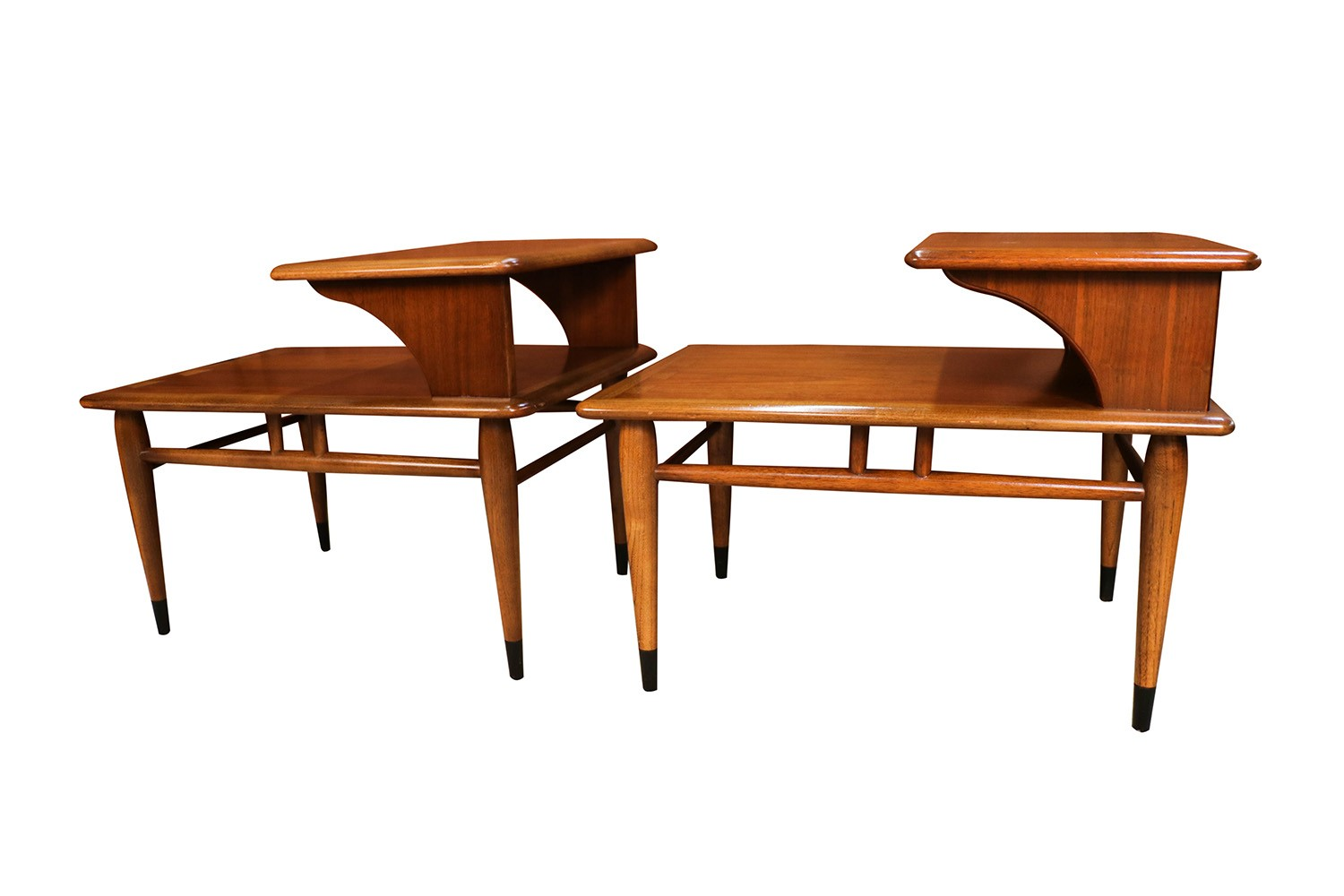 Mid Century Lane Acclaim Dovetail Two Tier End Tables Pair