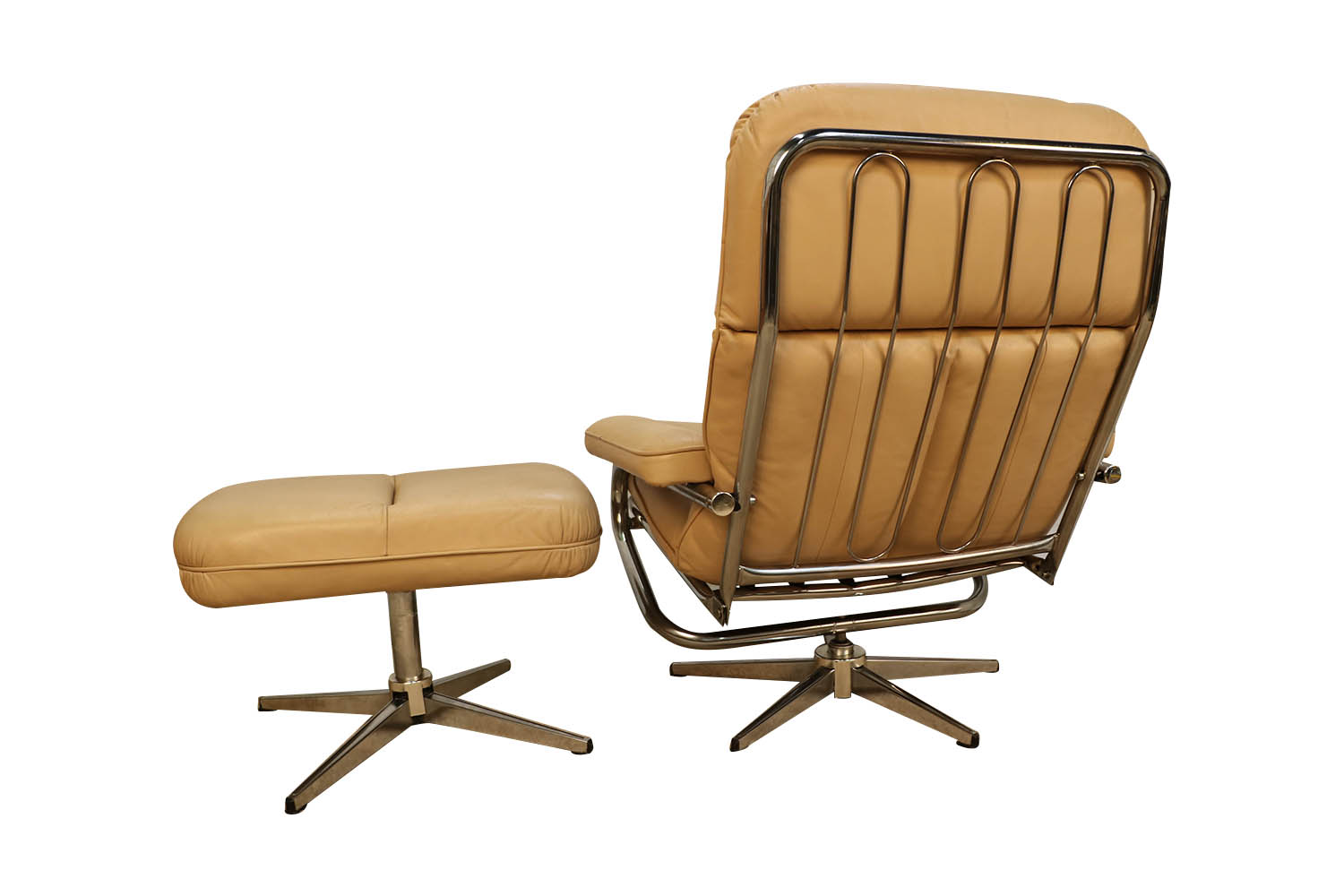 Mid Century Modern Chrome Leather Recliner Chair And Ottoman Set