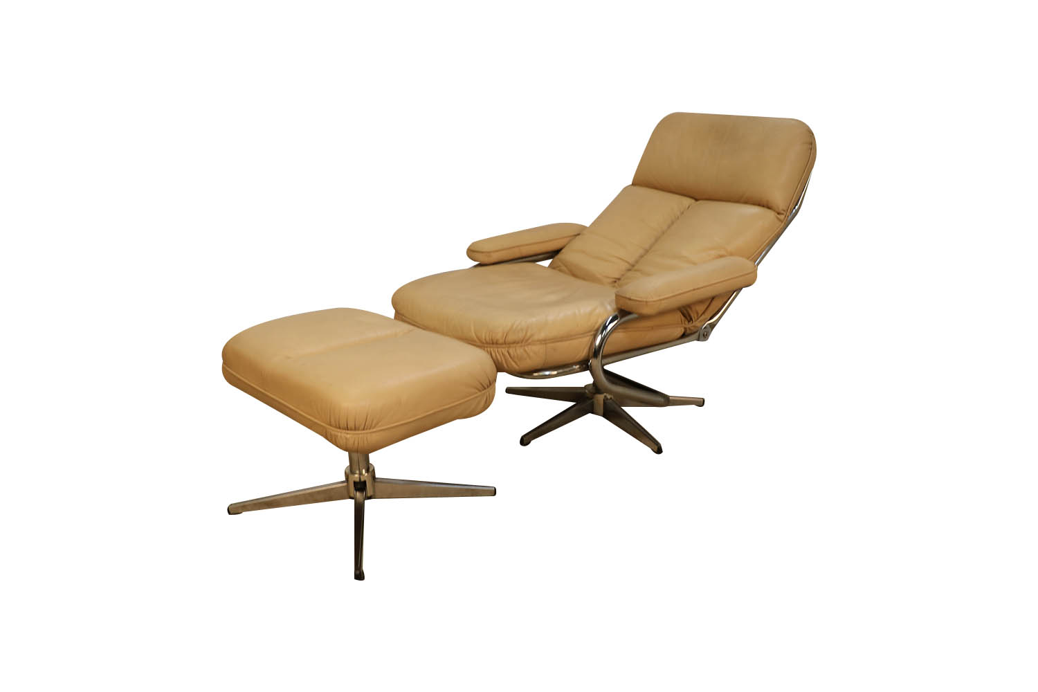 mid century modern chrome leather recliner chair and ottoman set mary kay s furniture