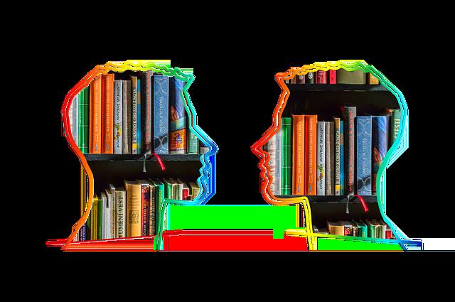 writing dialogue, silhouette, head, bookshelf