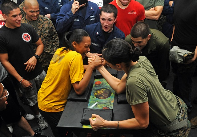 arm wrestling, competition, women, dialogue analogy