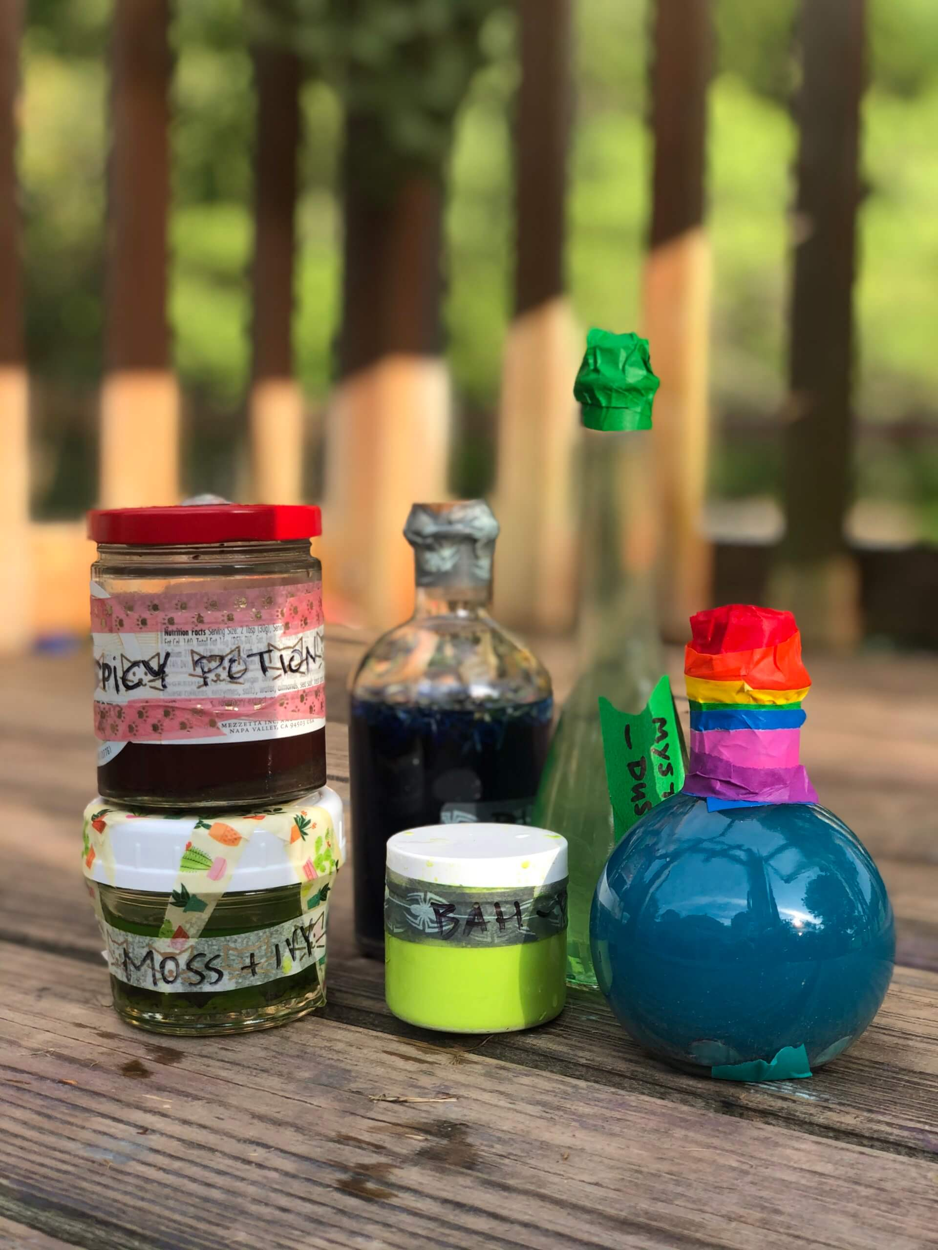 Colorful bottles of magic potion