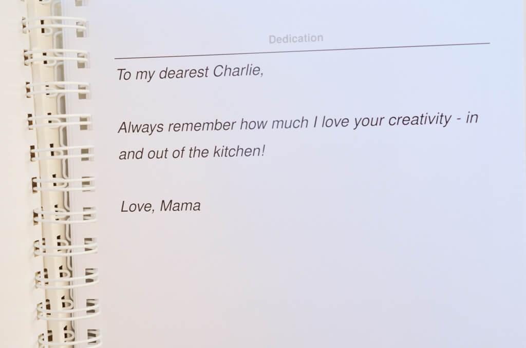 Recipe book dedication page