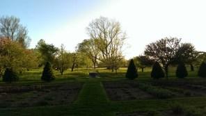 lawn pathway and birdbath at Stevens Coolidge Place