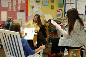 Cooperative Learning: Learners collaborate. These teachers (one music teacher, a second grade lead, and a second grade assistant) are working together to create a song about Earth Day to the tune of Katy Perry's song, Fireworks.