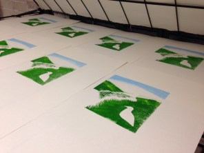 The prints left to dry