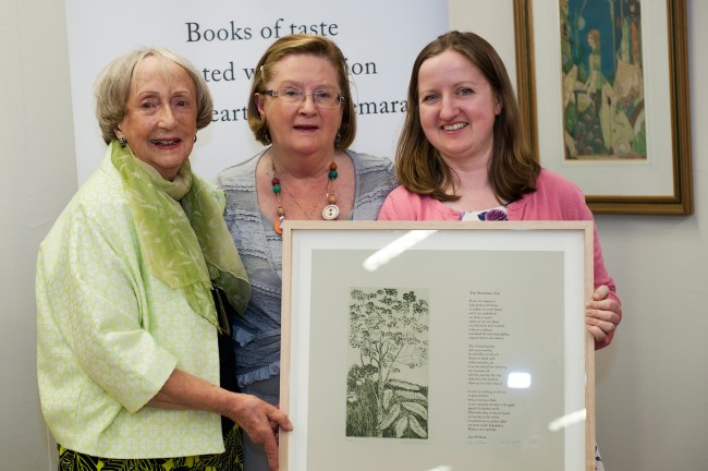 Margaret Irwin West, Joan McBreen and Mary Plunkett at the laaunch of 'The Mountain Ash' broadside at the 38th Clifden Arts Festival 2015. Aoife Herriott Photography
