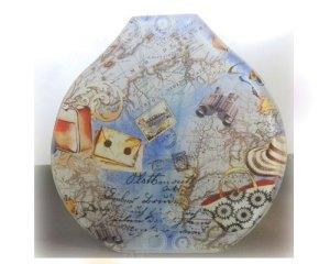古地図柄のガラス花器