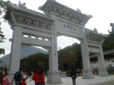 Entrance to the temple and statue