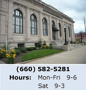 Photo of library, phone: (660) 582-5281, library hours: Mon-Fri 9-6 and Sat 9-3