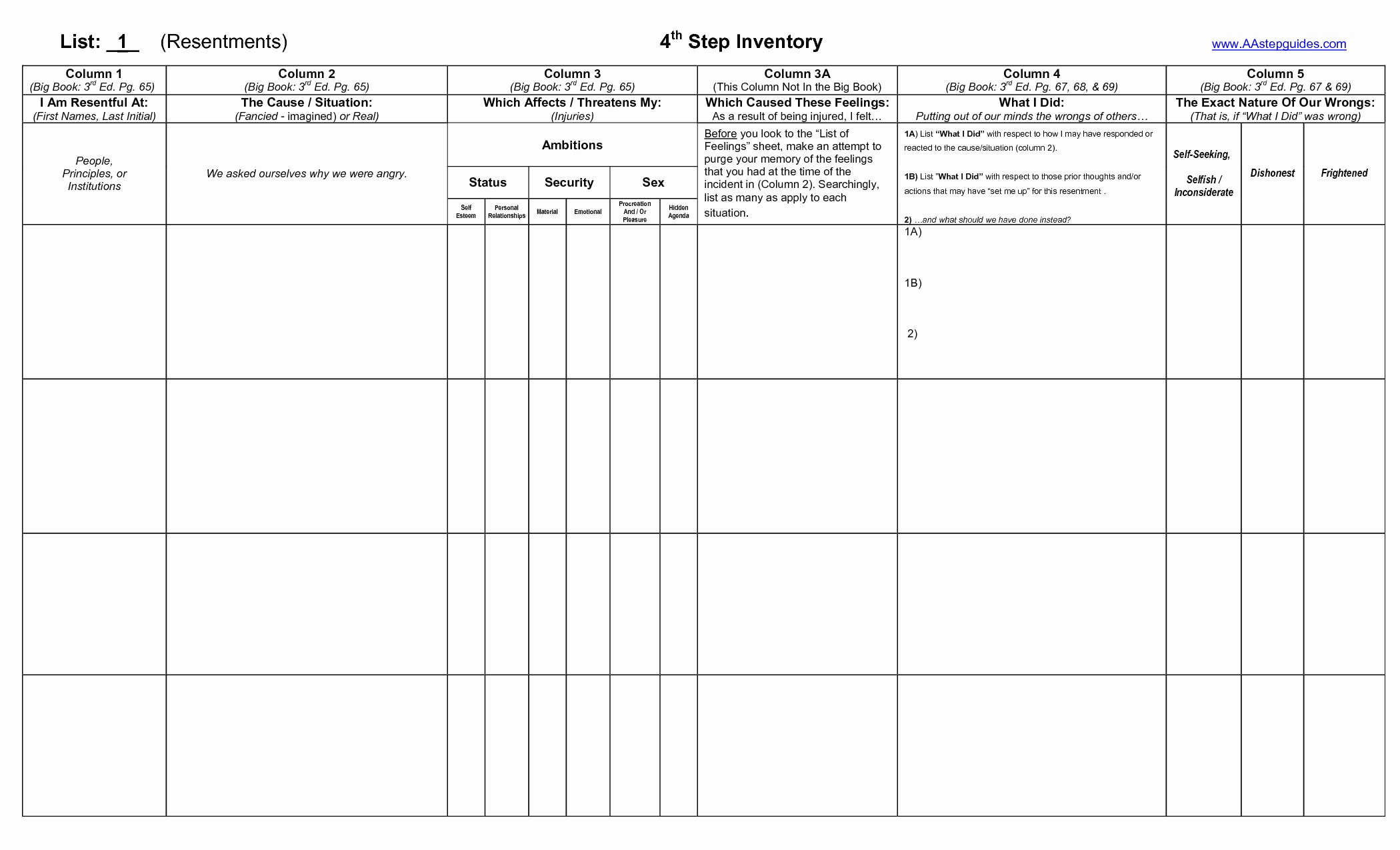 4th Step Worksheet From The Big Book Of Aa
