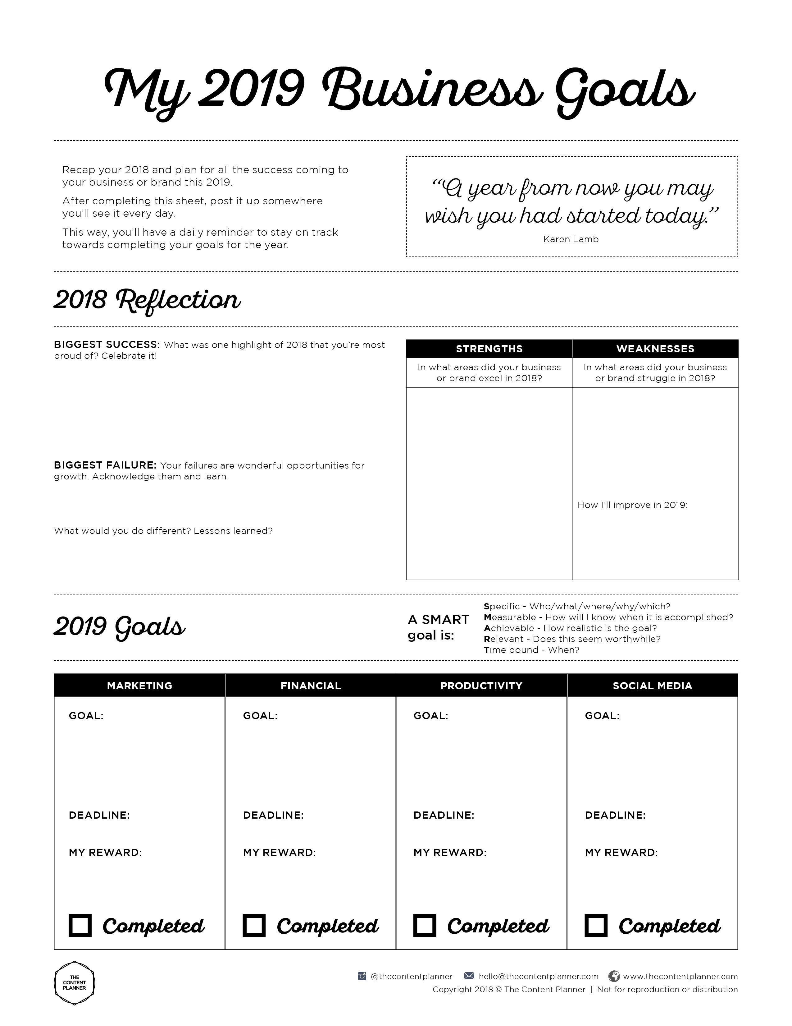 Business Goal Setting Worksheet Printable