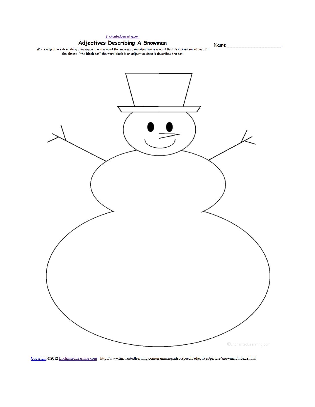 Snowman Worksheet Printables