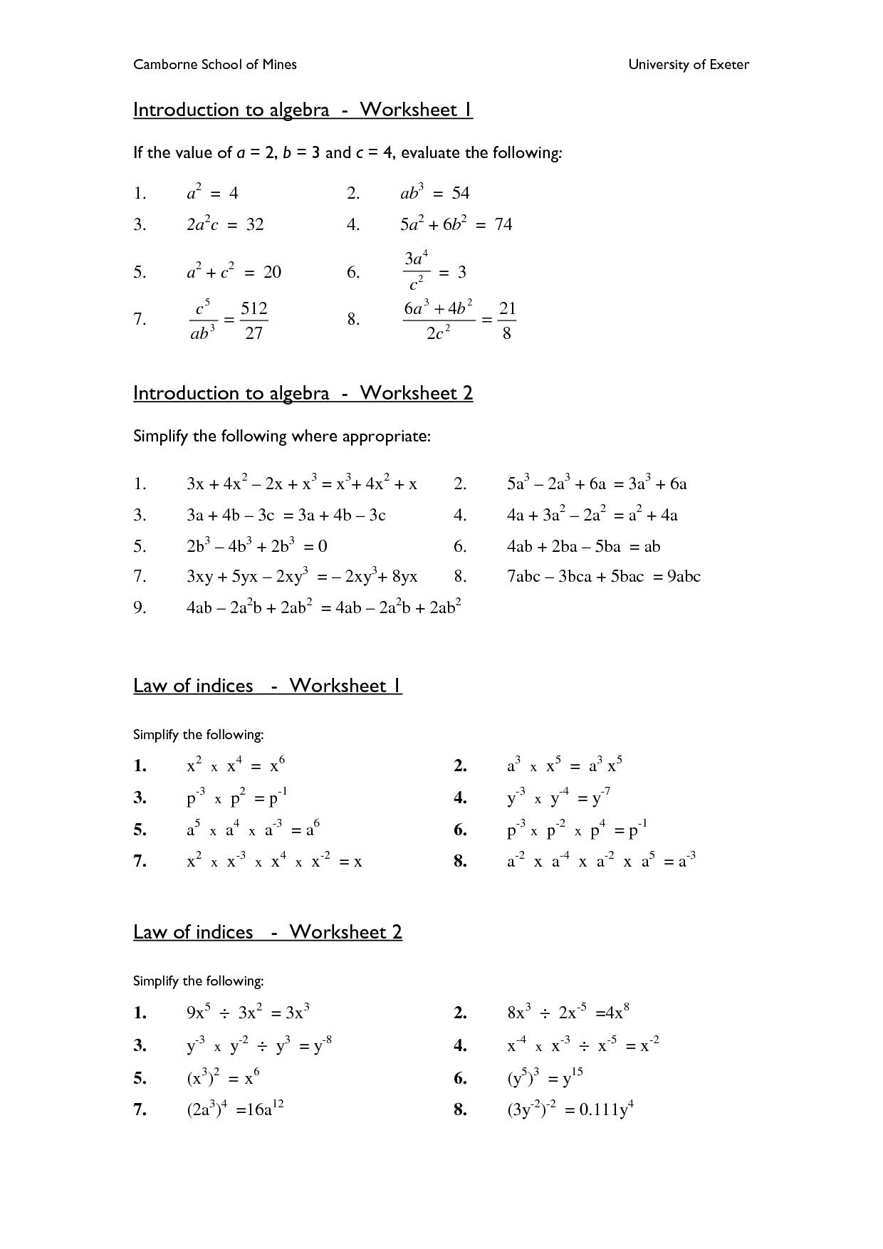 Printable Algebra Worksheets High School