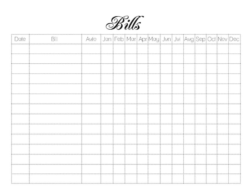 Bill Pay Checklist App Excel Printable Monthly
