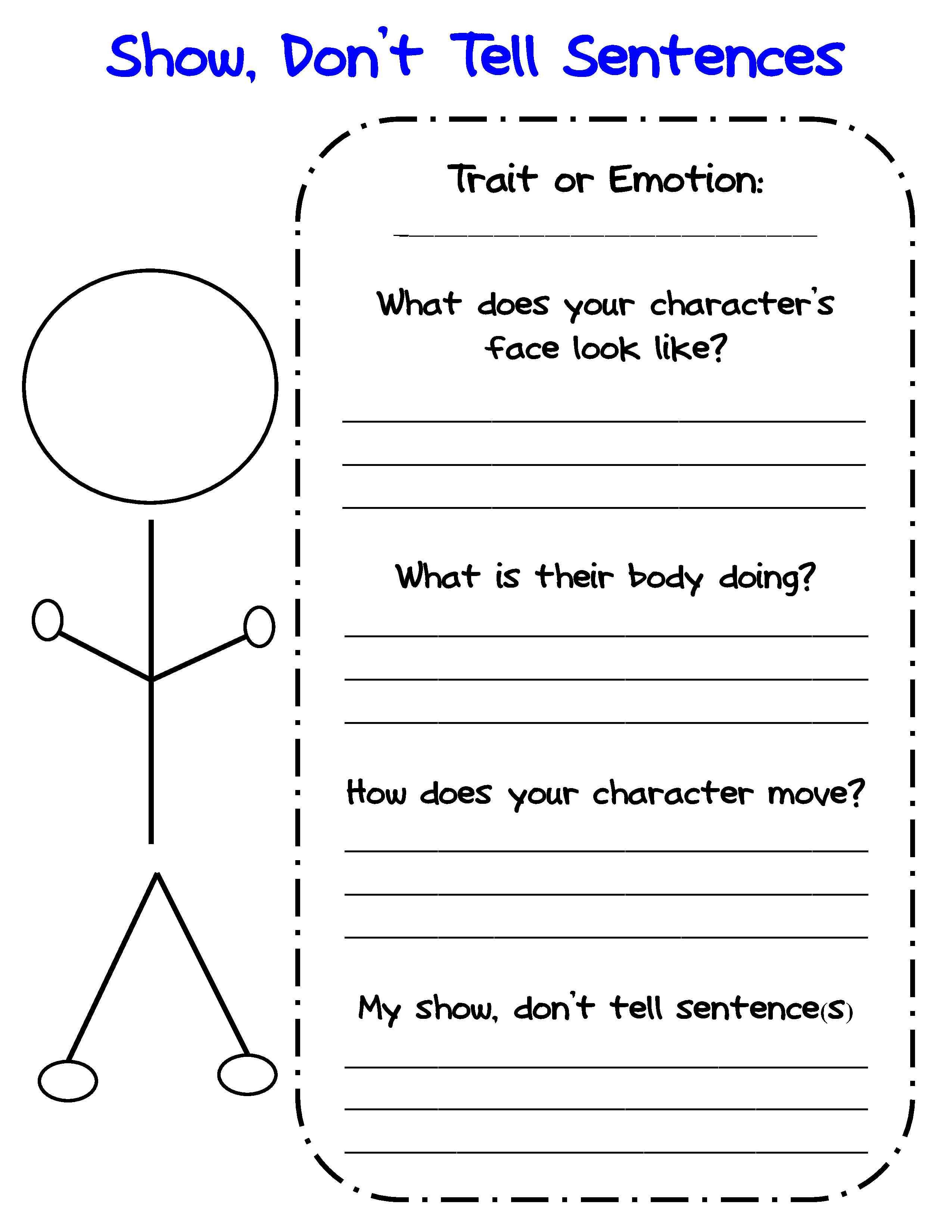 Printable Character Traits Worksheets