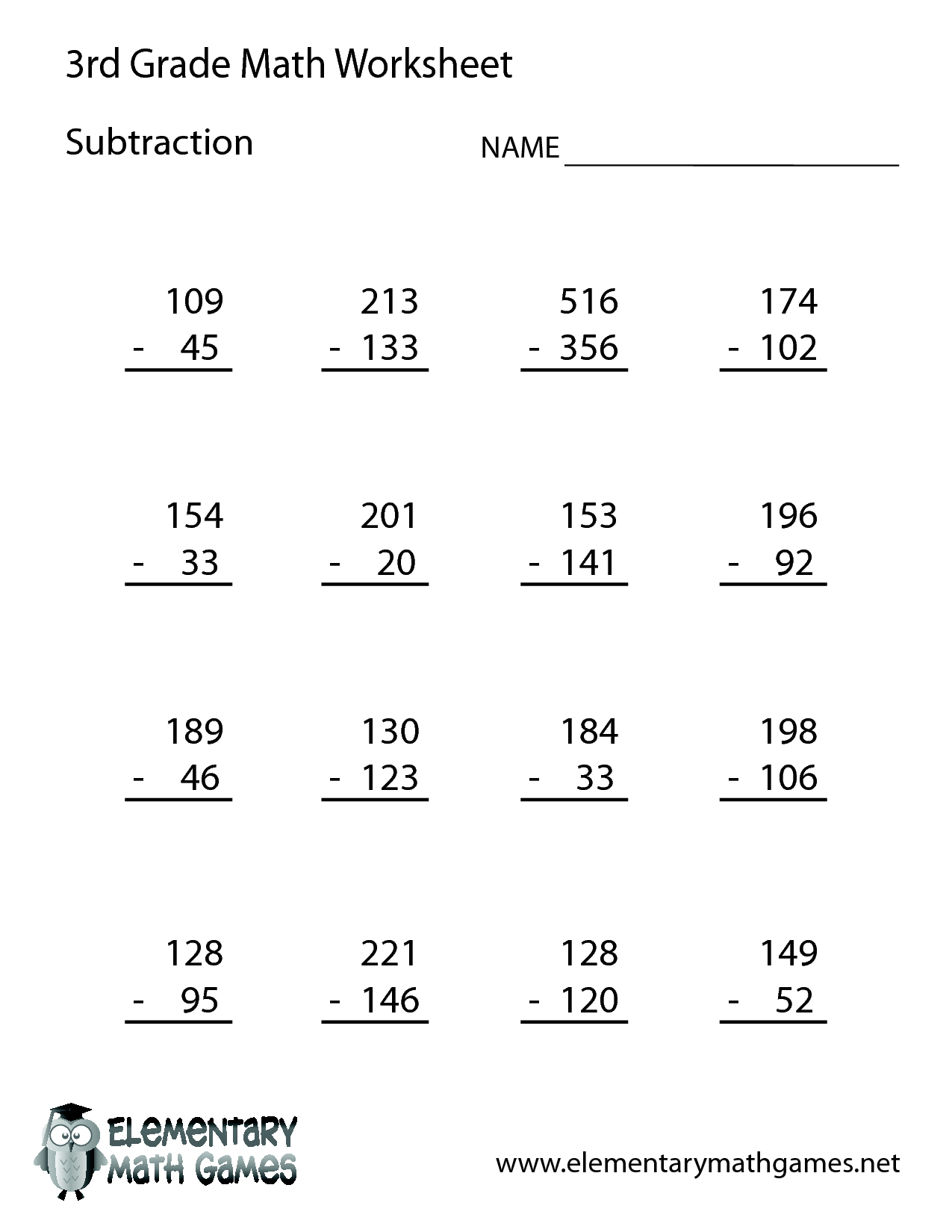 3rd Grade Math Subtraction Printable Worksheets