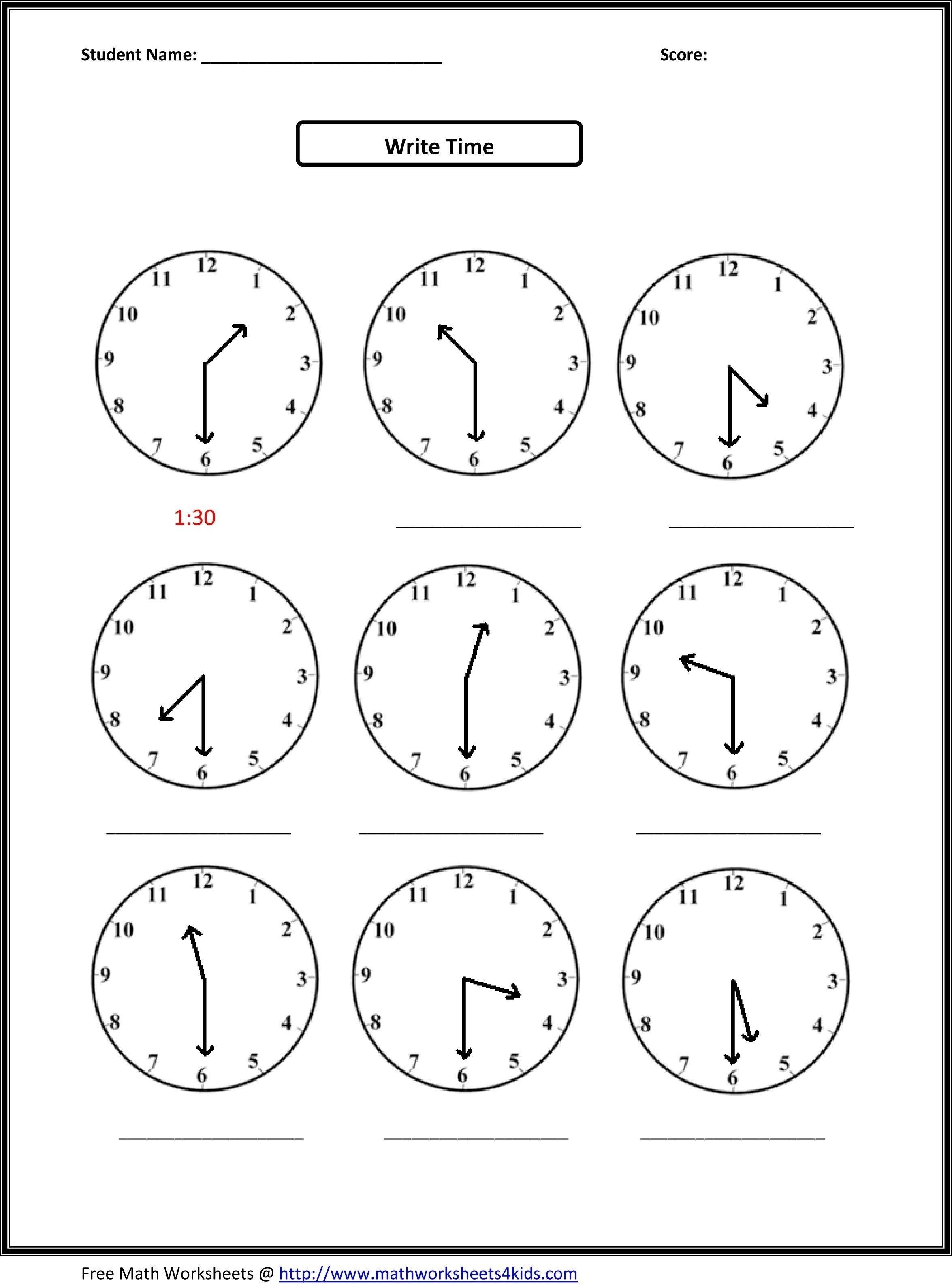 Printable Telling Time Worksheets 1st Grade