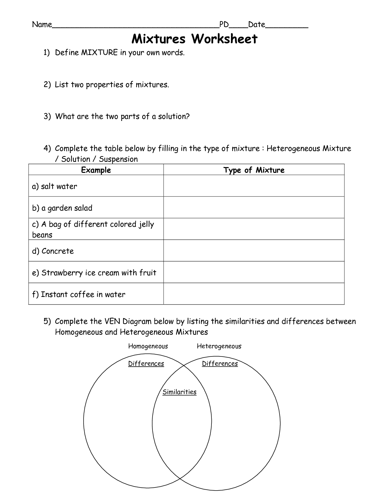 Free Printable Worksheets On Mixtures And Solutions