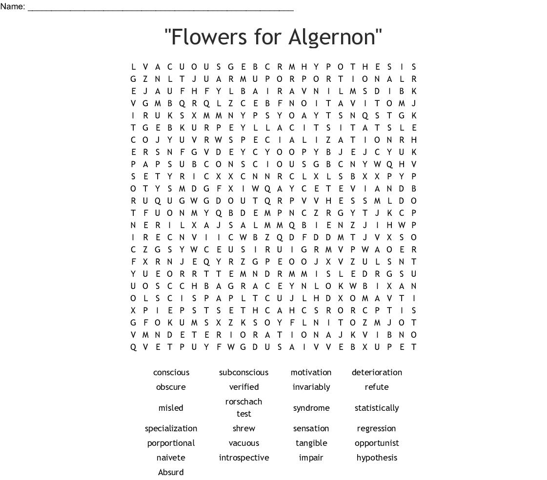 Flowers For Algernon Printable Worksheets