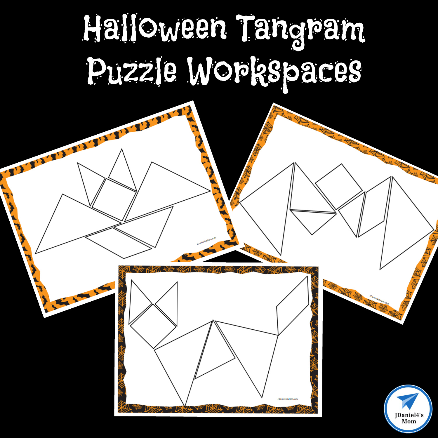 Black And White Tangrams With Thick Lines A