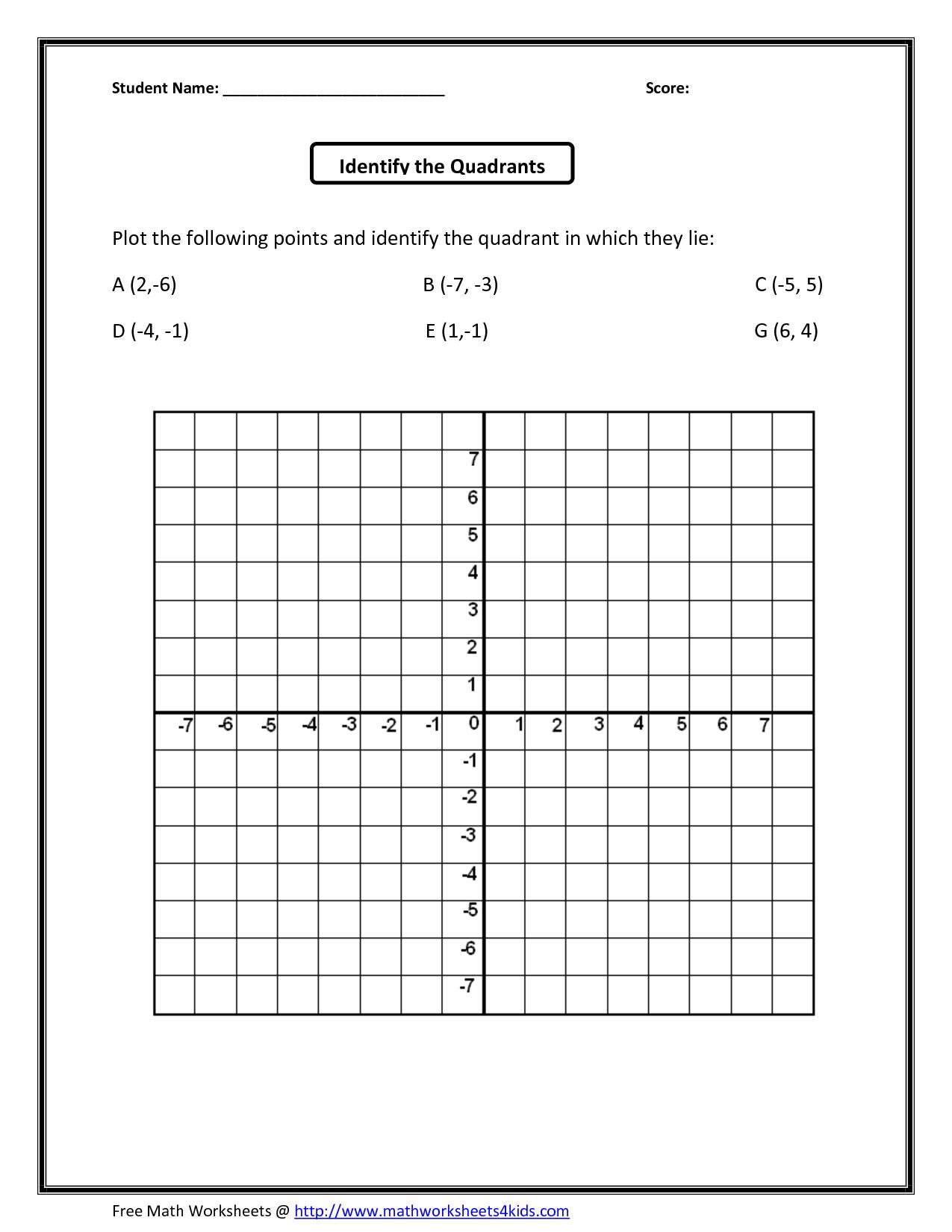 Free Printable Coordinate Graphing Worksheets