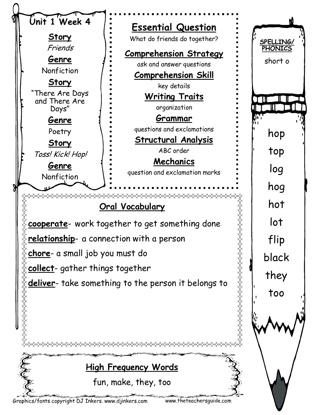 First Grade Vocabulary Worksheets Printable