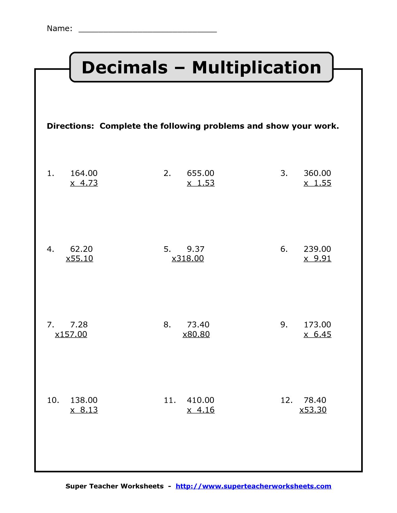 Free Printable Decimal Multiplication Worksheets