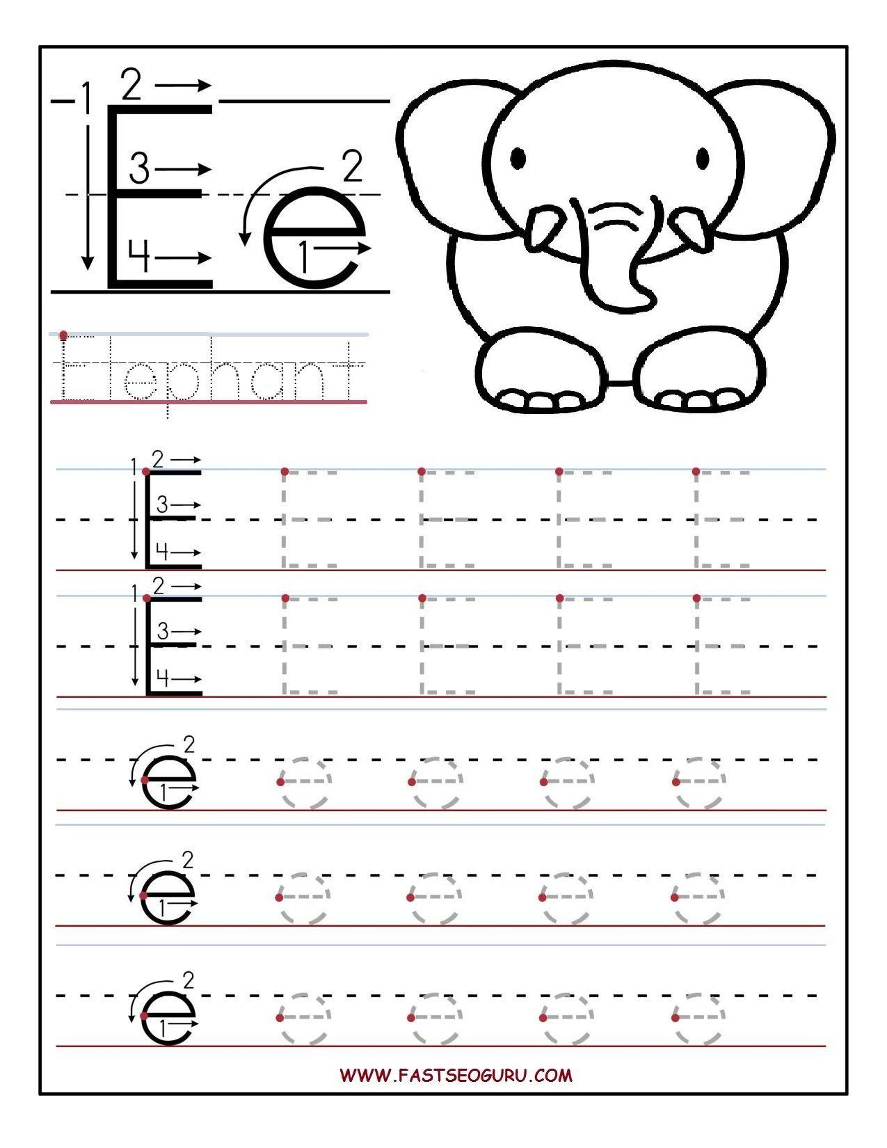 Lowercase Letter E Tracing Worksheet
