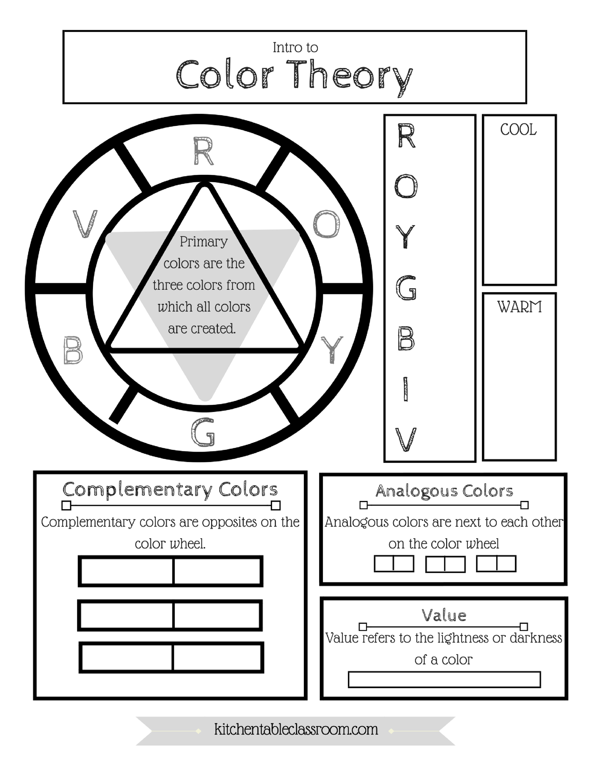Preview Large Free Elements Of Art Color Wheel Worksheet