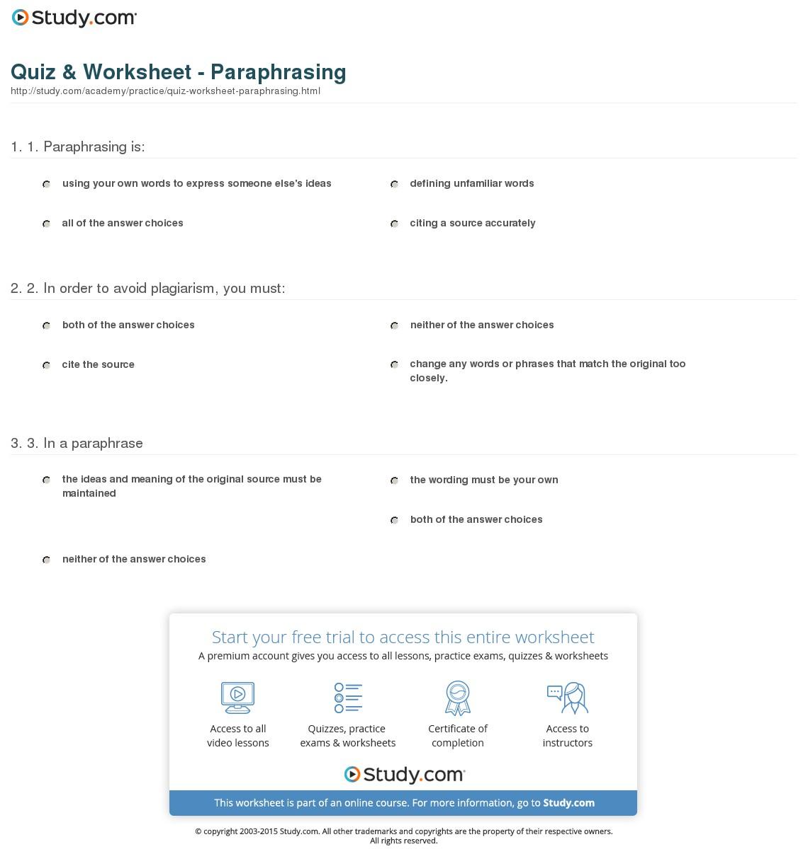 Hot Tips For Paraphrasing Worksheet