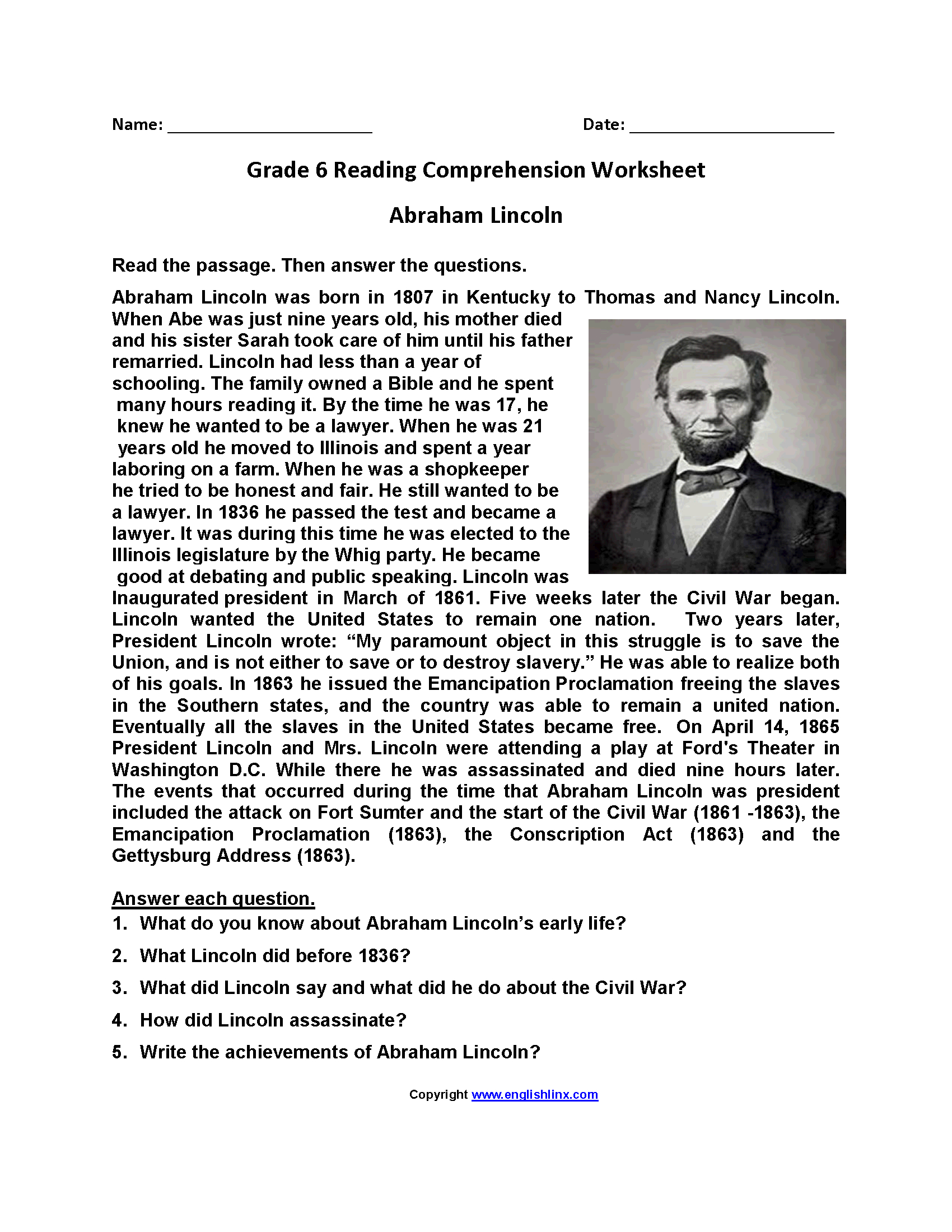 Free Printable 6th Grade Reading Worksheets