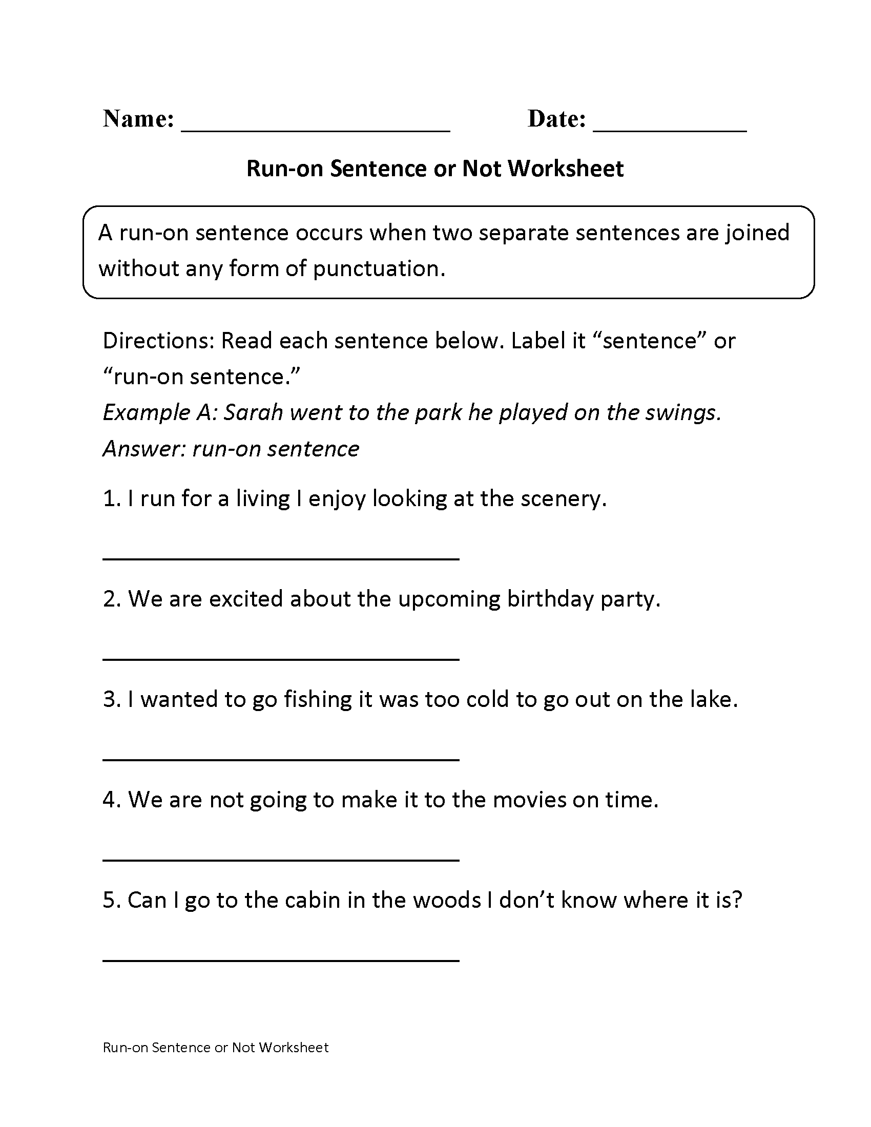 Free Printable Sentence Correction Worksheets