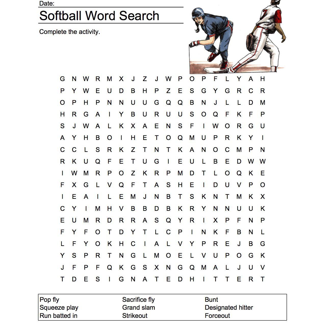 Softball Worksheets Printable
