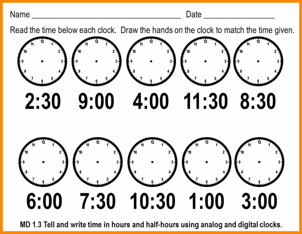 Printable Telling Time Worksheets 1st Grade