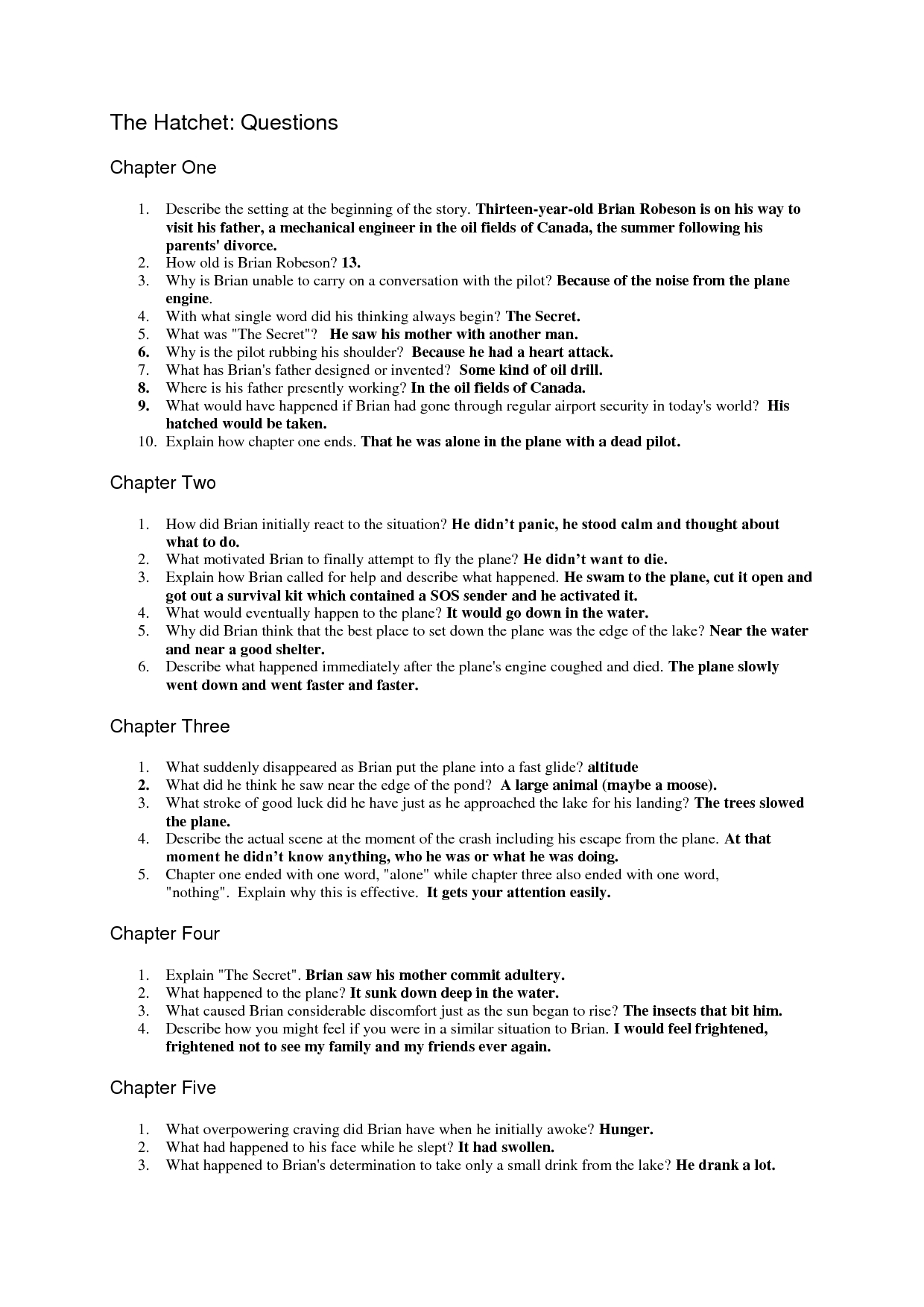 Teacher Worksheet And Answers Hatchet Book