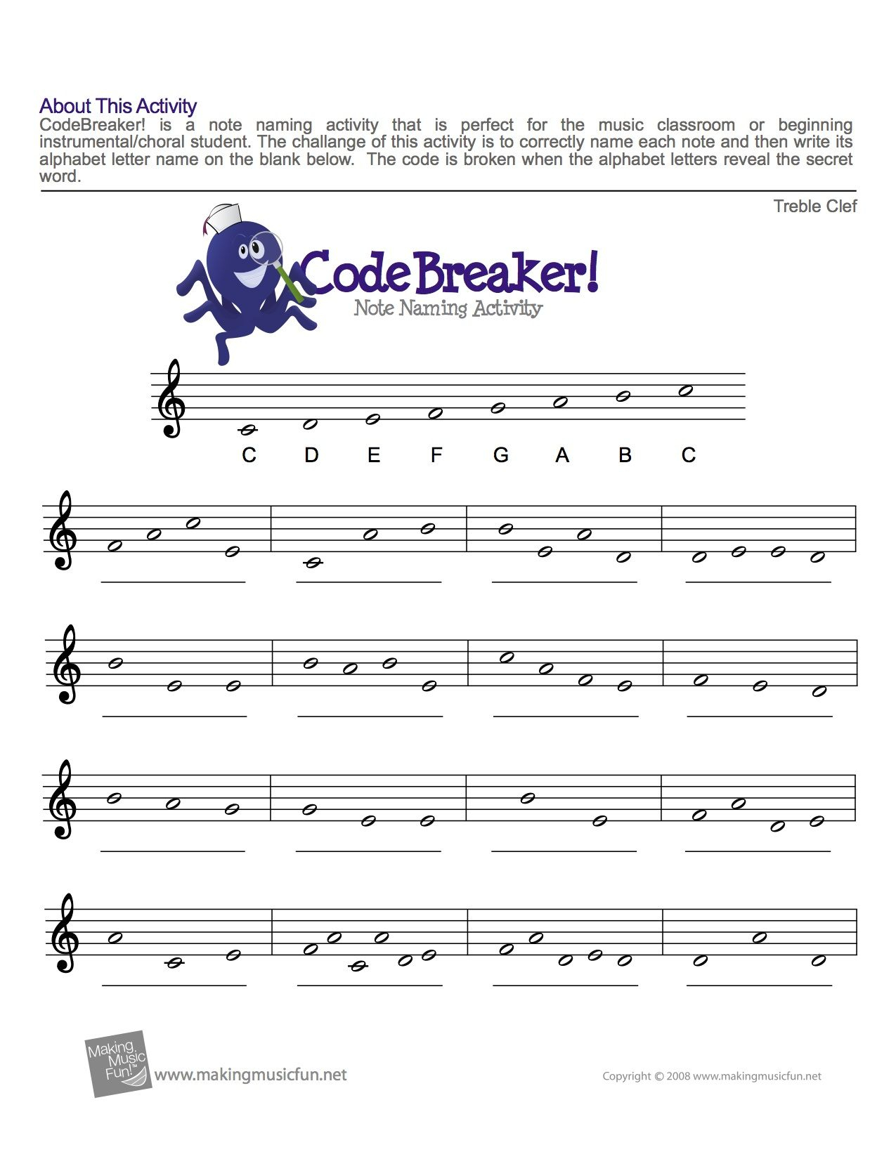 Reading Music Worksheets Printable