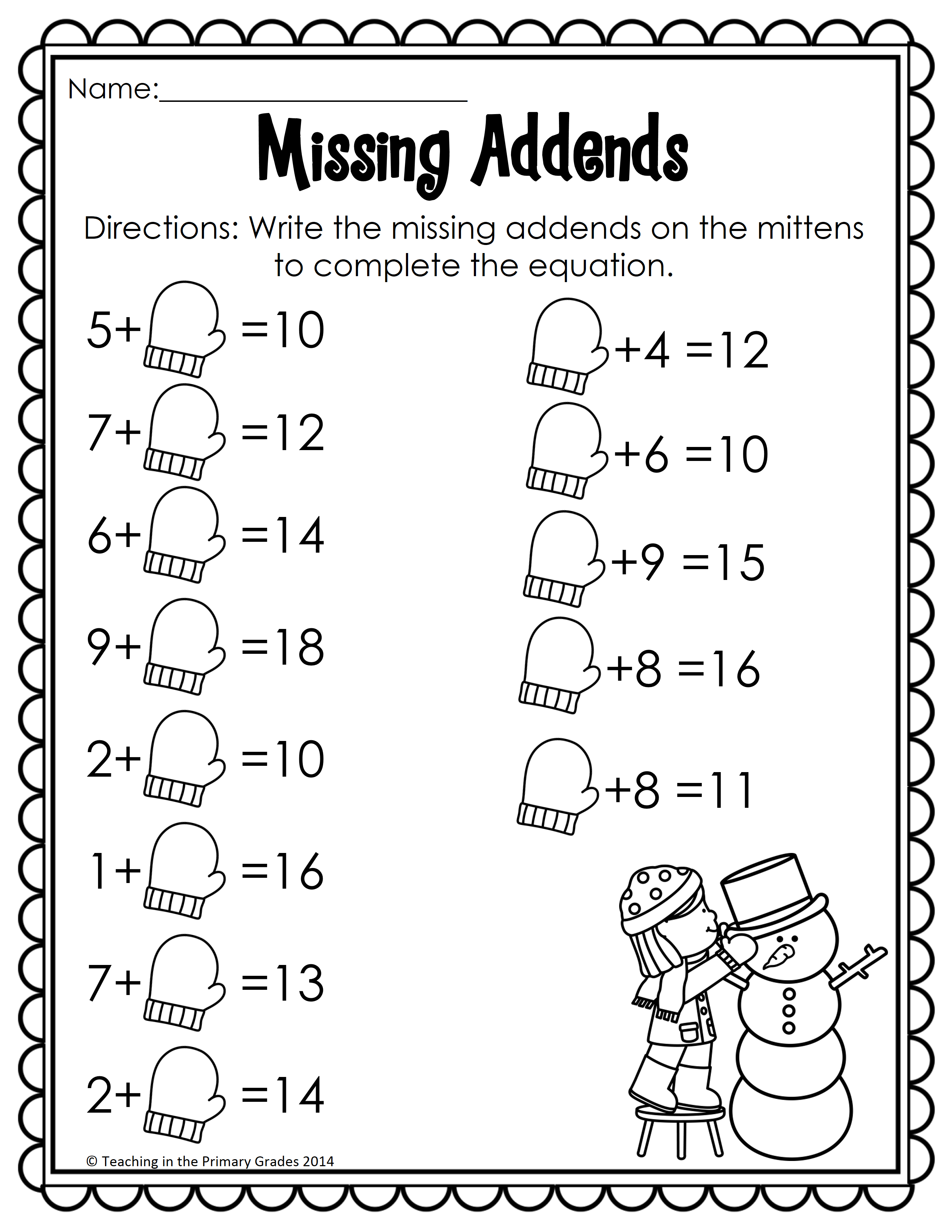Printable Winter Math Worksheets