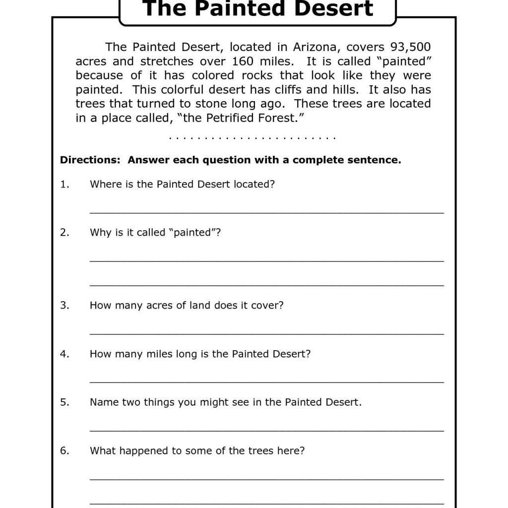 Printable Reading Worksheets 4th Grade