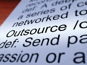 Outsource Definition Closeup Showing Subcontracting