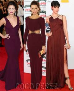Da sinistra: Selena Gomez, Kate Beckinsale e Jena Malone. Fonte:http://perezhilton.com/cocoperez/2014-12-04-pantone-color-of-the-year-marsala-red-carpet-celebrity-photos