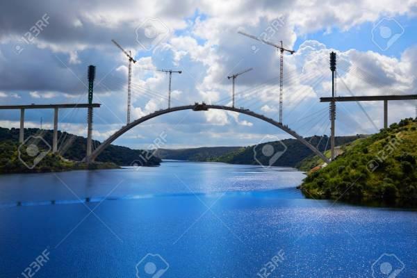 Bridge construction along Tajo river in Spain