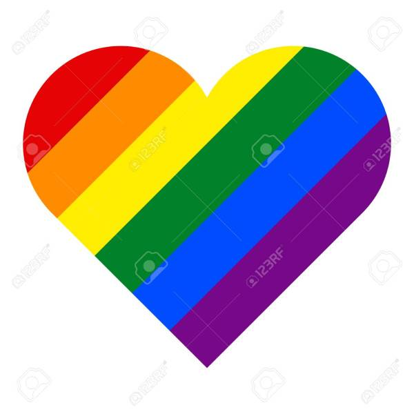 Rainbow Pride Flag LGBT Movement in Heart Shape